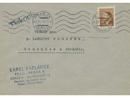 1942, DR Praha, tiskopis zaslaný do Kamenice u Stránčic
