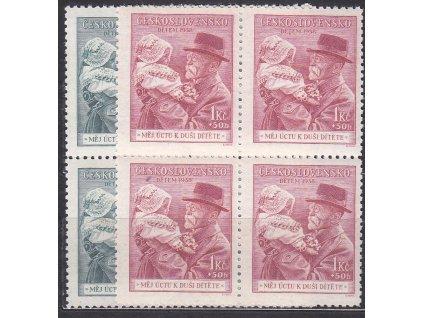 1938, 50h-1Kč Masaryk, 4bloky, Nr.333-4, **