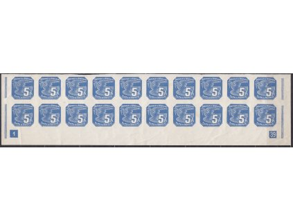 5h modrá, 20pás s DČ 1 - široký rám, (Pof.2800,-), Nr.NV2, **, vada - skvrnky + lom v okraji, přesto vzácný pás