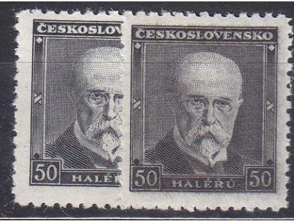 1937, 50h Masaryk, 2 ks - odstíny barev, Nr.324, **