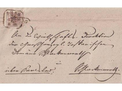 1853, DR Prag, skládaný dopis zaslaný do Schlackenwertu