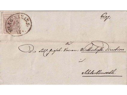 1856, DR Prag Kleins, skládaný dopis zaslaný do Schlackenwertu