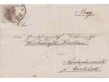 1854, DR Prag Kleins, skládaný dopis zaslaný do Schlackenwerthu