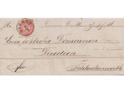 1864, DR Buchau, skládaný dopis zaslaný do Schlackenwerthu