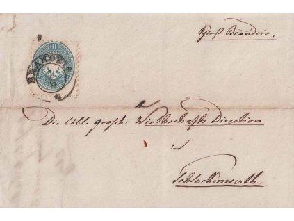 1865, DR Brandeis, skládaný dopis zaslaný do Schlackenwerthu