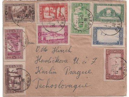 Alžír, 1936, DR Oran, dopis zaslaný do Prahy, hezká frankatura, stopy pošt. provozu