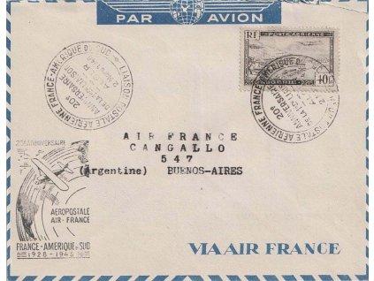 Alžír, 1948, 1. let Francie - Jižní Amerika, letecký dopis