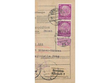Německo, perfin O.M., DR Berlín 16.1.1940, útržek průvodky
