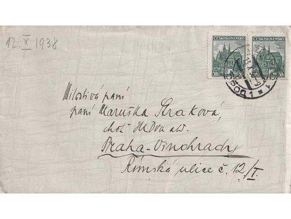 Užhorod, dopis zaslaný v roce 1938 do Prahy