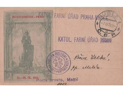 1925, DR Nusle, firemní lístek zaslaný do Pečic