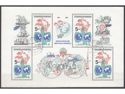 1984, 5Kčs aršík Výročí UPU, Nr.A2652, razítkované, denní razítko
