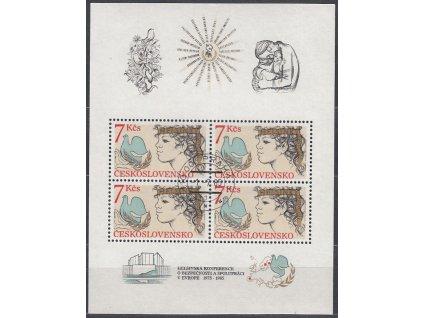 1985, 7Kčs aršík Helsinky, zoubkovaný, NrA2704A, razítkovaný, denní razítko