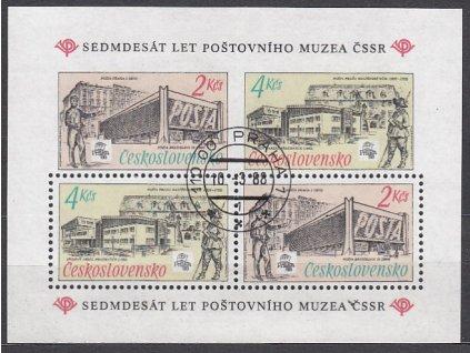 1988, 2-4Kčs aršík Poštovní muzeum, Nr.A2840, razítkované, denní razítko