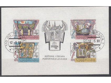 1988, 1-7Kčs nezoubk. PRAGA 1988, Nr.A2846, razítkované, denní razítko