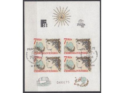 1985, 7Kčs aršík Helsinská konference, nezoubkovaný, číslovaný, pamětní razítko, Nr.A2704B