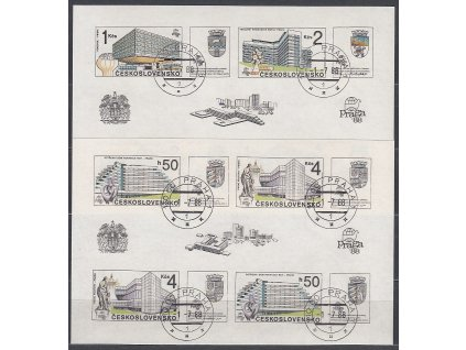 1988, 50h-4Kčs dva nezoubk. aršíky Praga, Nr.A2857-8, razítkované, denní razítka