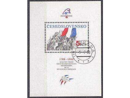 1989, 5Kčs aršík Dobytí Bastily, Nr.A2896, razítkované, denní razítko