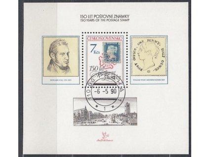 1990, 7Kčs aršík Výročí známky, Nr.A2940, razítkované, denní razítko