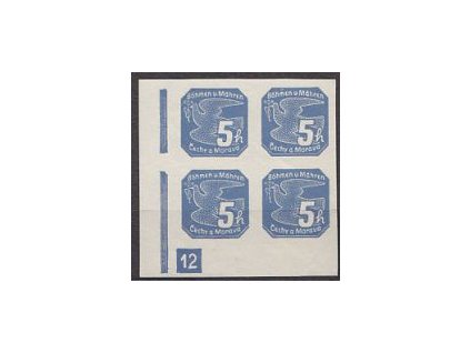 1939, 5h modrá, roh. 4blok s DČ 12, Nr.NV2, **