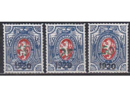 1Rbl Lvíček, 3 ks zn. s falešným přítiskem 1920 a zeleným přítiskem, **