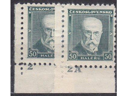 50h Masaryk, 2 roh. kusy s DČ 2,2A, Nr.258, **, ilustrační foto