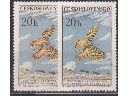 1961, 20h Motýli, 2 ks - odstíny barev, Nr.1218a,b, **