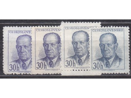 1953, 30h Zápotocký, Řz.12 1/2, 4 ks - odstíny barev, Nr.740B, **