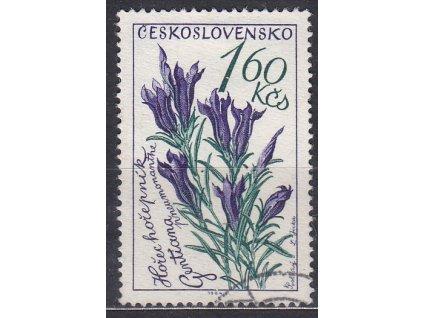 1964, 1.60Kčs Květiny, DV - přerušený lístek, Nr.1381, razítkované, hledaná DV