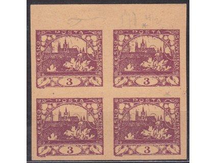 3h fialová, nezoubkovaný ZT na nahnědlém papíru, kraj. 4blok, Nr.2, bez lepu