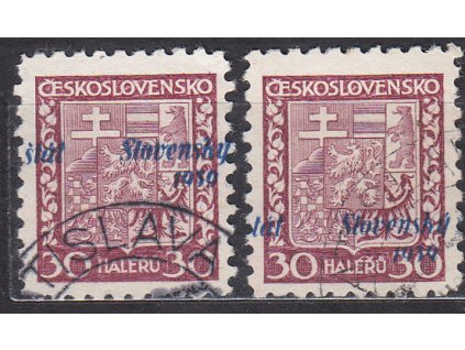 1939, 30h Znak, 2 ks s posunem přetisku, Nr.6, razítkované