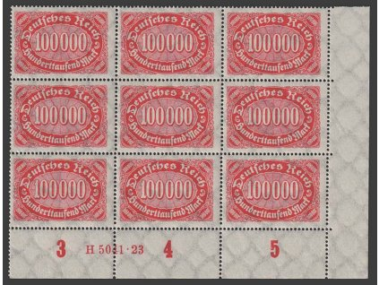 1922, 100000 M Ovál, rohový 9blok s HAN, MiNr.257, **