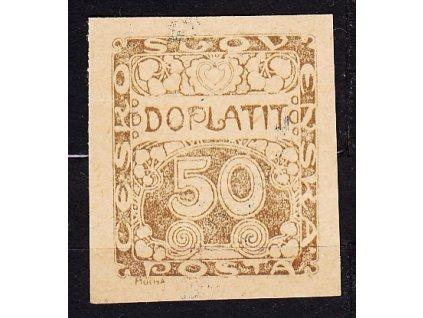 50h hnědočerná, ZT na nahnědlém papíru, Nr.DL8, bez lepu