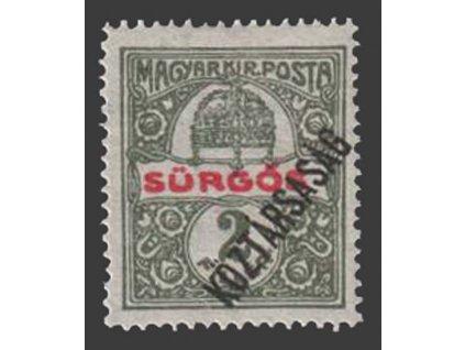 1918, 2 f Spěšná, posun přetisku, MiNr.222, * po nálepce