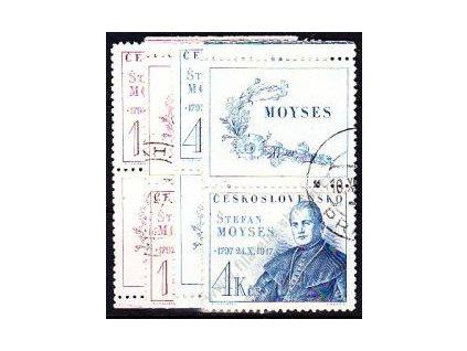 1.20-4Kčs Moyses, horní a dolní kupon, Nr.460-1, razítkované, ilustrační foto