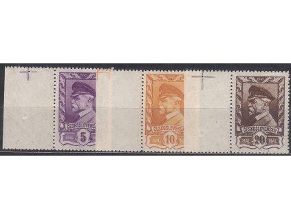 1945, 5,10 a 20h Moskevské, kraj. kusy s křížkem v okraji, Nr.381-3, **