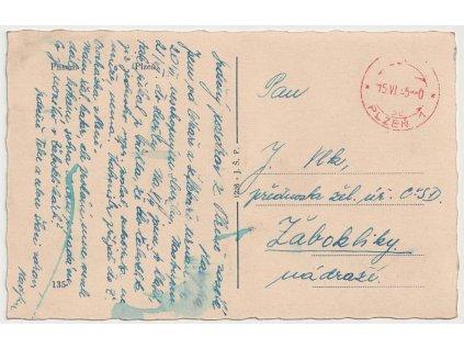Plzeň 1, 15.6.1945, pohlednice zaslaná do Žaboklik