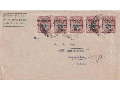 Peru, 1929, DR Lima, dopis zaslaný do USA, lehká omačkání