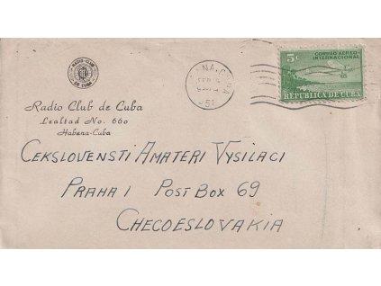 Kuba, 1951, DR Havana, dopis zaslaný do Československa