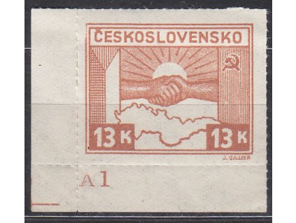 1945, 13K Košické, roh. kus s DČ A1, Nr.358, **