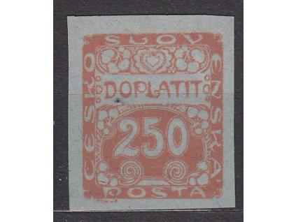 250h oranžová, ZT na namodralém papíru, Nr.DL10, bez lepu