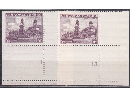 4Kč Poděbrady, 2 roh. kusy s kupony a DČ 1,1A, Nr.311, **