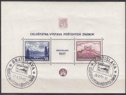 1937, aršík Bratislava, 2 pamětní razítka BRATISLAVA 26.X.37 písmeno A, Nr.A329/330, ilustrační foto