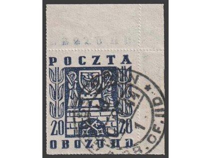 1944, Gross-Born, 1944, 20 Pf Erby měst, razítkované