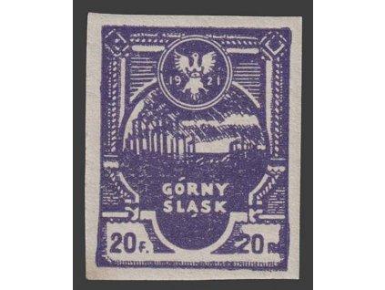 Oberschlesien, 1921, 20 F Znak, MiNr.2B, ** , skvrnka
