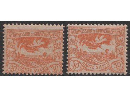 Oberschlesien, 1920, 30 Pf Výjev - odstíny, MiNr.20, **