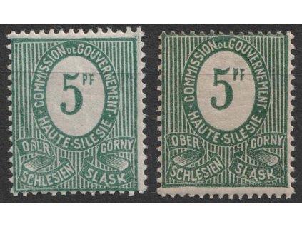Oberschlesien, 1920, 5 Pf zelená - odstíny, MiNr.3, **
