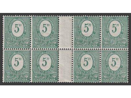 Oberschlesien, 1920, 5 Pf zelená, meziarší, MiNr.3, **