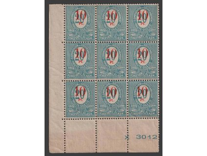 Oberschlesien, 1920, 10Pf/20Pf modrá, rohový 9blok, Nr.11, **