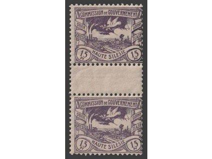 Oberschlesien, 1920, 15 Pf Výjev, meziarší, MiNr.17, **