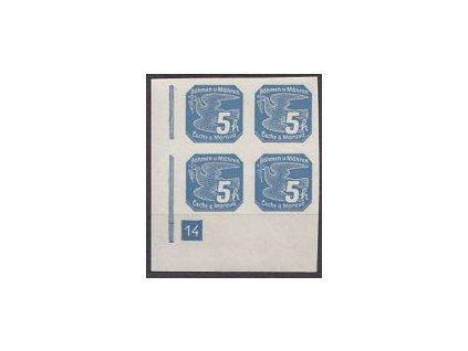 1939, 5h modrá, roh. 4blok s DČ 14, Nr.NV2, **